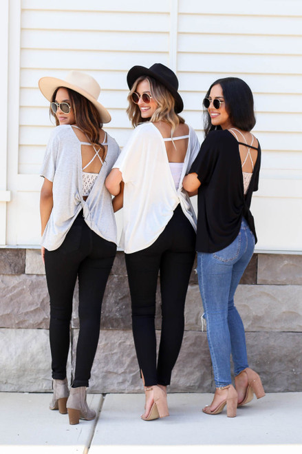 Black - Heather Grey and Ivory Twisted Open Back Tees