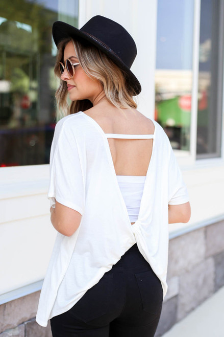 Ivory - Twist Back Top Back View
