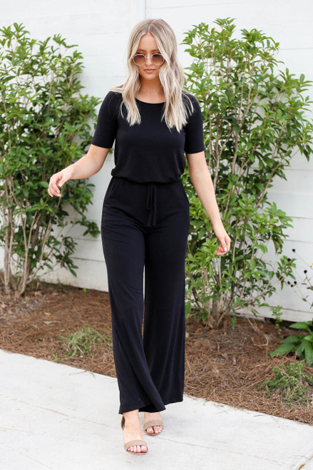 Black - Soft Knit Short Sleeve Jumpsuit Front View