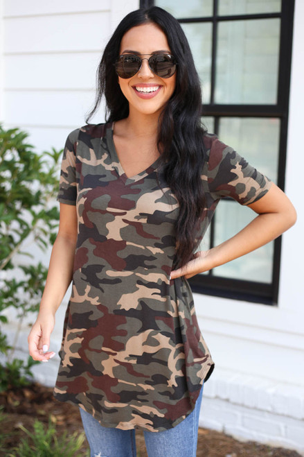 Camo - Short Sleeve V-Neck Top