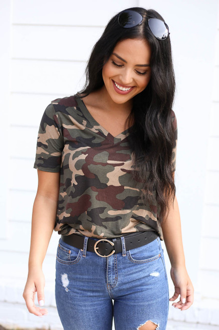 Camo - Short Sleeve V-Neck Top Tucked In