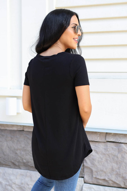 Black - V-Neck Basic Tee Back View