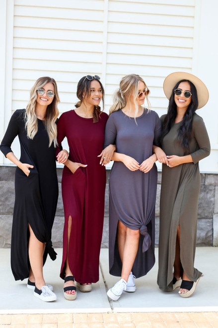 Black - Grey, Burgundy, and Olive 3/4 Sleeve Maxi Dresses on Models