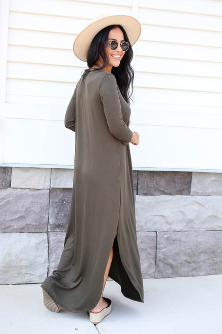 Olive - 3/4 Sleeve Maxi Dress Back View