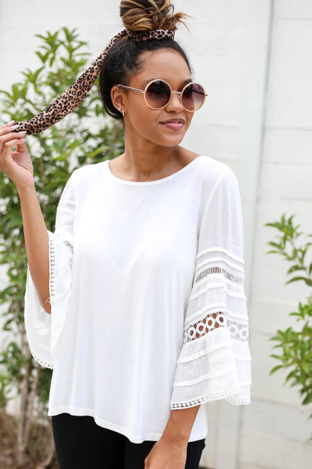 Model wearing White Crochet Bell Sleeve Top Front View