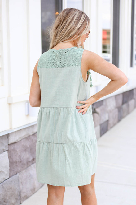 Model wearing Mint Tiered Lace Neck Dress Back View