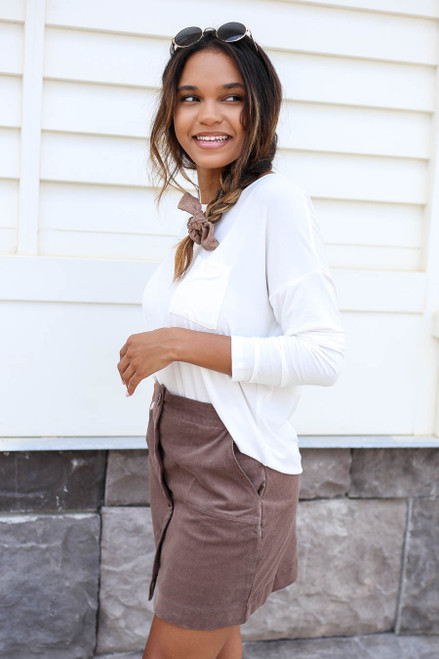 Model wearing Taupe Corduroy Button Front Mini Skirt Side View