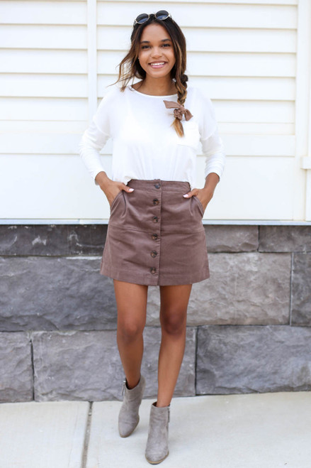 Taupe - Corduroy Button Front Mini Skirt Full View