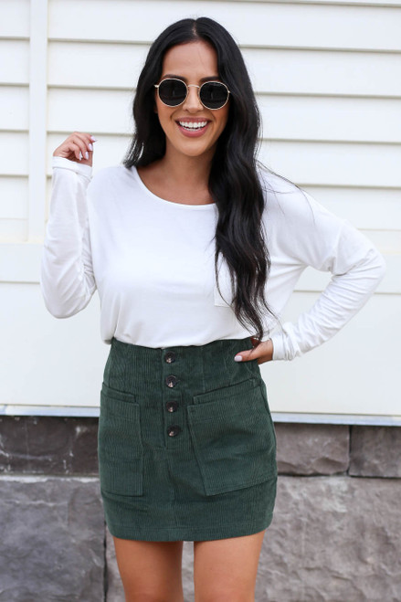 Green - Corduroy Mini Skirt