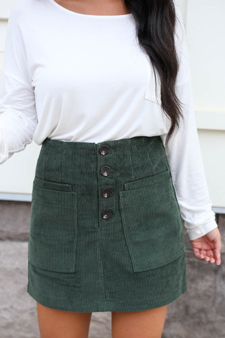 Green - Corduroy Mini Skirt Detail View