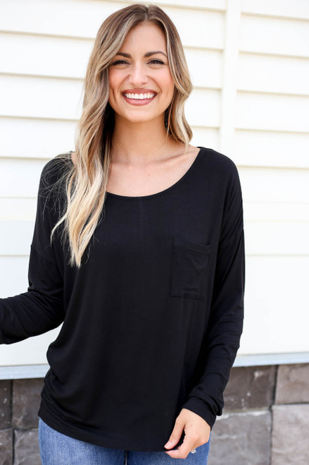 Black - Long Sleeve Basic Pocket Tee