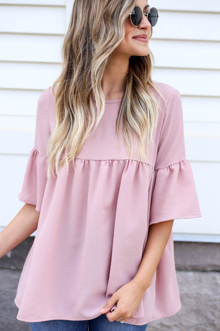 Blush - Babydoll Bell Sleeve Blouse