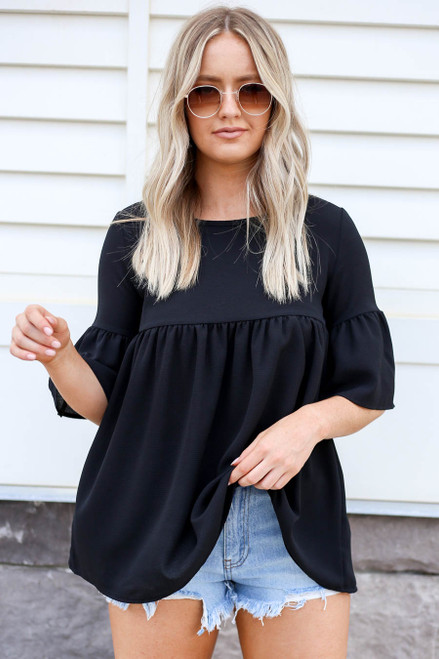 Black - Babydoll Bell Sleeve Blouse