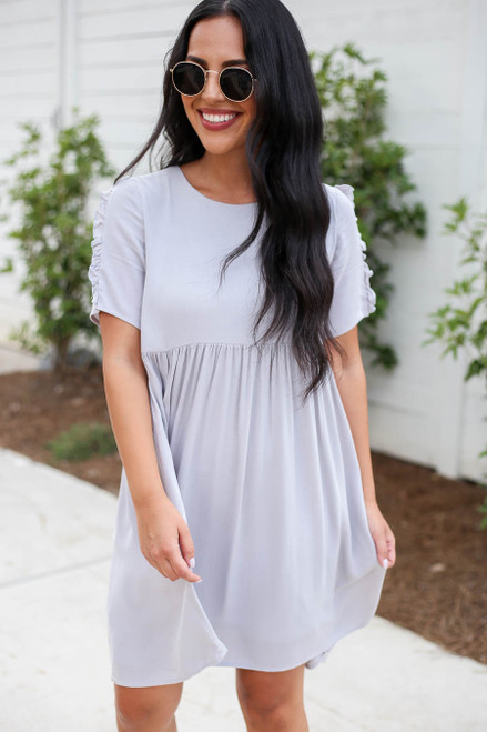 Grey - Ruffle Detail Babydoll Dress