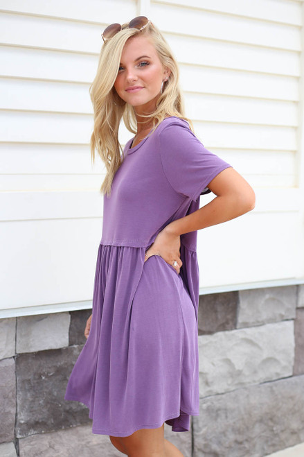 Purple - Babydoll Mini Dress Side View