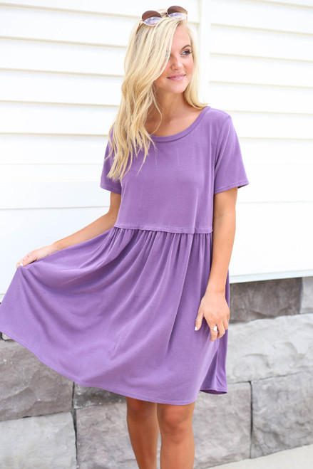 Purple - Babydoll Mini Dress