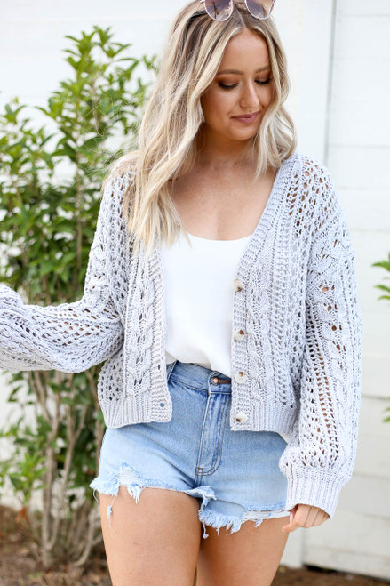 Grey - Cropped Cable Knit Cardigan