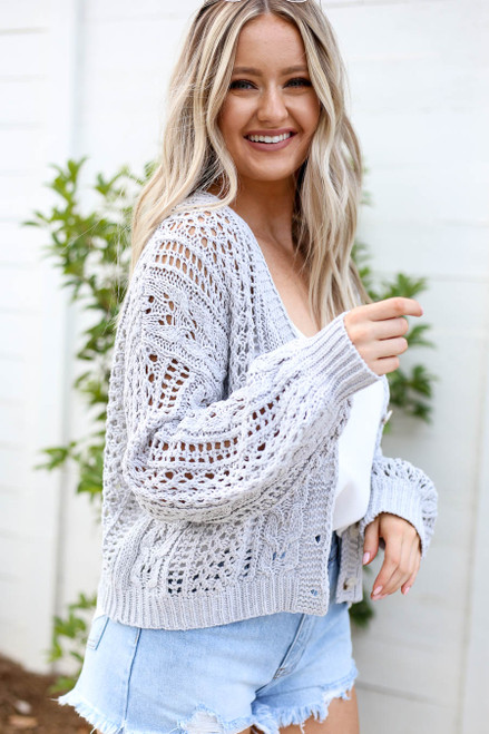 Grey - Cropped Cable Knit Cardigan Side View