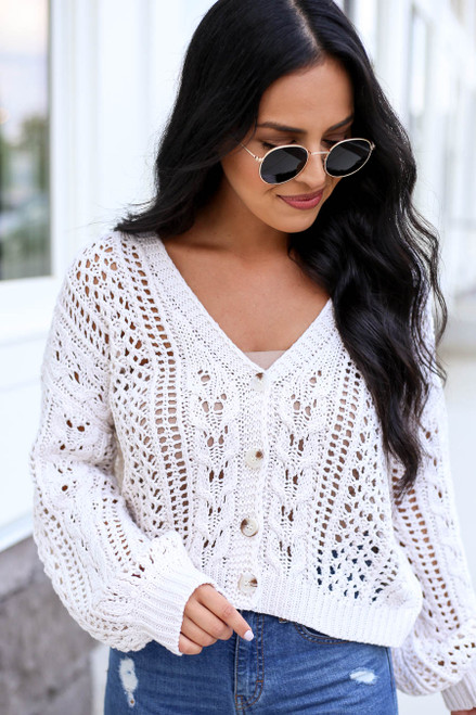 Model wearing Taupe Cropped Cable Knit Cardigan