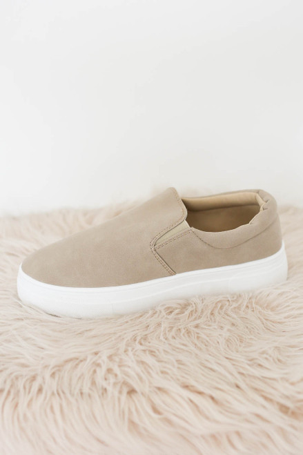 Taupe - Platform Slip On Sneakers Flat Lay