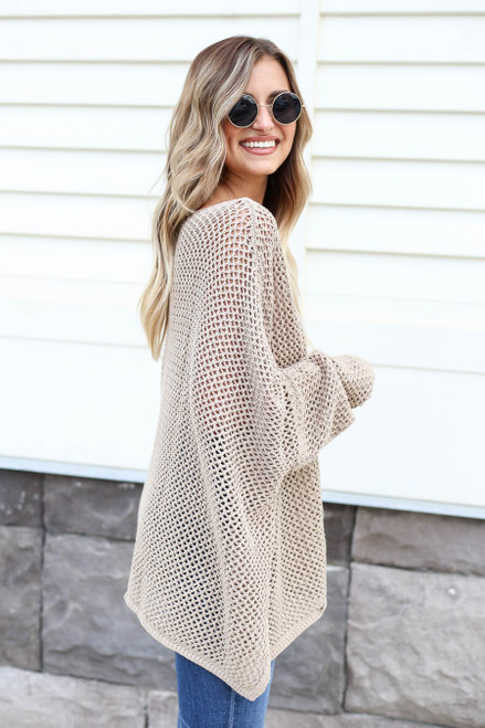 Taupe - Oversized Open Knit Sweater Side View