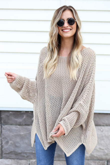 Taupe - Oversized Open Knit Sweater