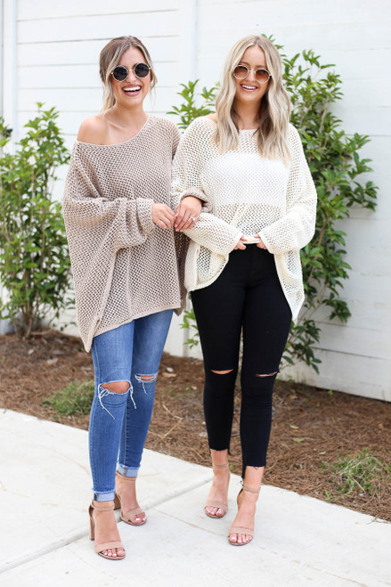 Ivory - and Taupe Oversized Open Knit Sweaters