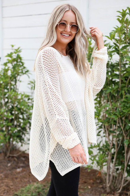 Model wearing Taupe Oversized Open Knit Sweater Side View