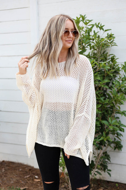 Ivory - Oversized Open Knit Sweater