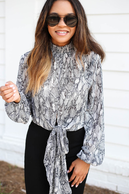 Black - High Neck Snakeskin Tie-Front Blouse Detail View