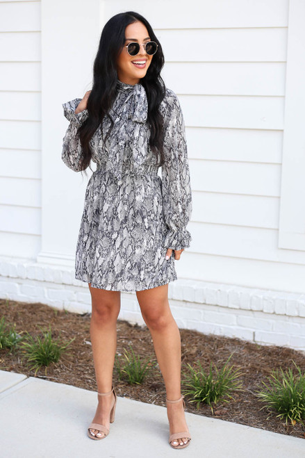 Black - Snakeskin High Neck Smocked Waist Mini Dress Full View