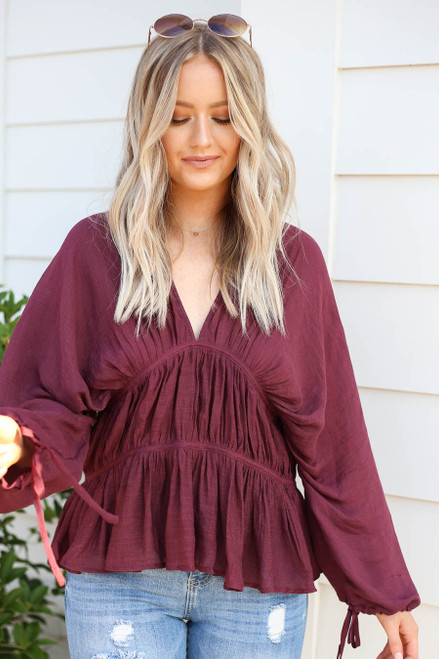 Burgundy - Long Sleeve Ruched Blouse