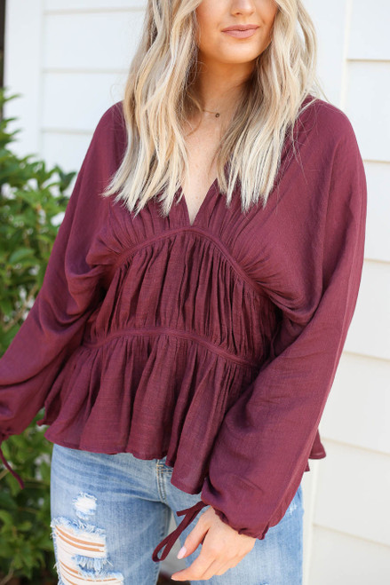 Burgundy - Long Sleeve Ruched Blouse Detail View