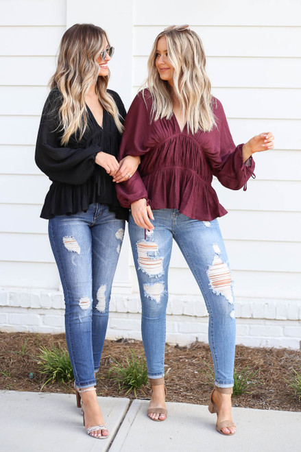 Black - and Burgundy Ruched Blouse