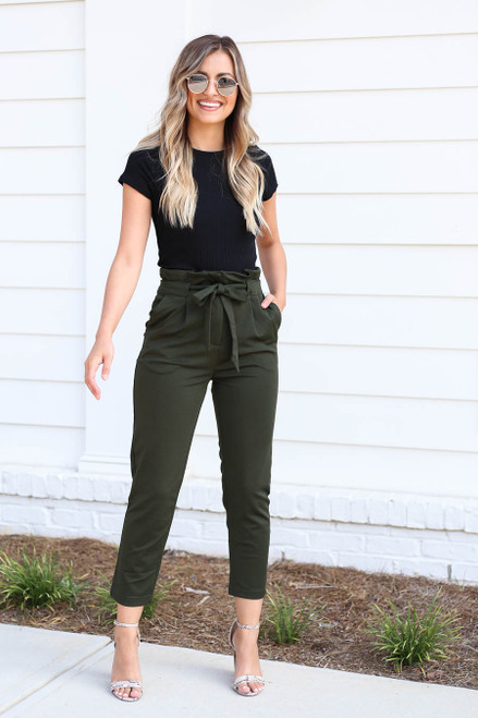 Olive - Cropped Tie-Front Pants