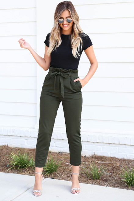 Model wearing Olive Cropped Tie-Front Pants