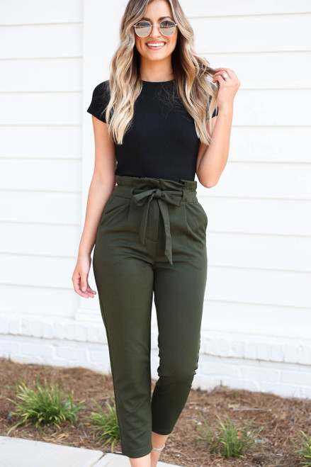 Model wearing Olive Cropped Tie-Front Pants Front View