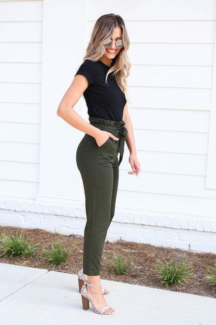 Model wearing Olive Cropped Tie-Front Pants Side View