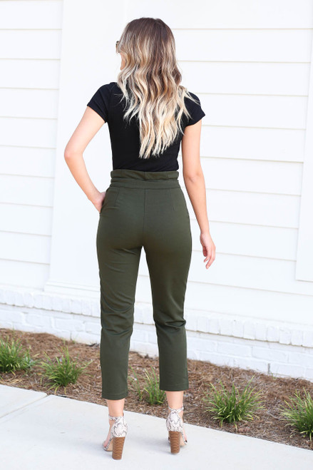 Olive - Cropped Tie-Front Pants Back View