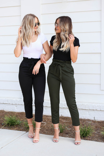 Black - and Olive Tie Front Pants