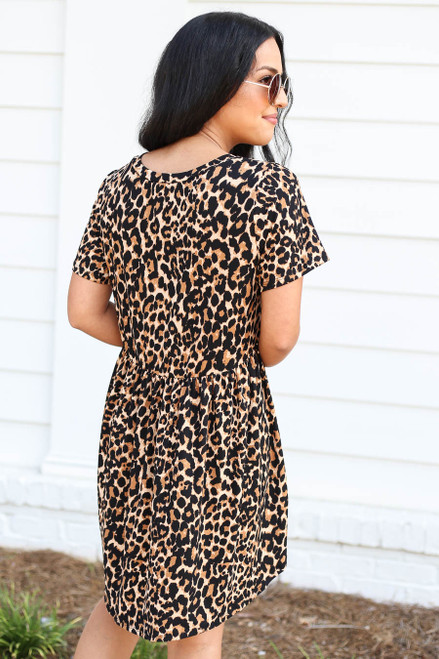 Model wearing Leopard Print Babydoll Dress Back View