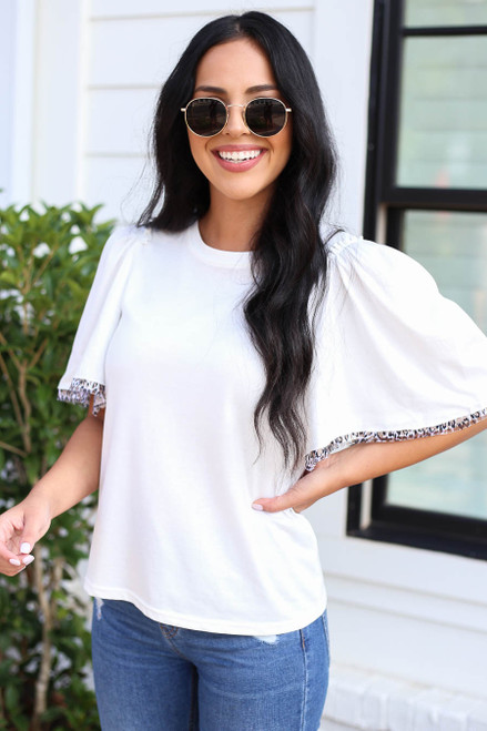 Model wearing White Leopard Print Trim Top Front View