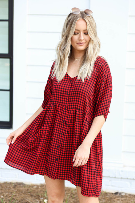 Red - and Black Gingham Babydoll Dress Front View