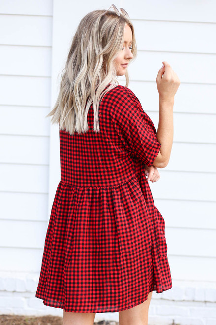Model wearing Red and Black Gingham Babydoll Dress Back View