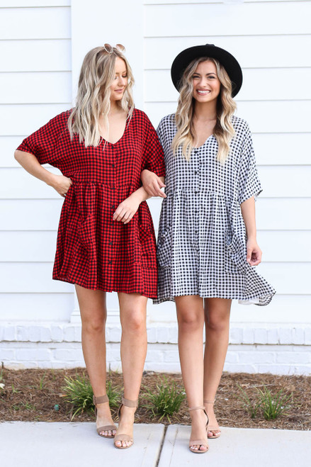 Models wearing Black and Red Gingham Babydoll Dresses
