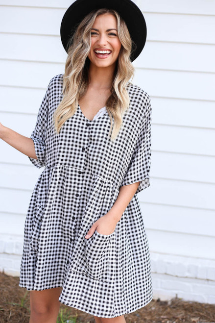 Black - and White Gingham Babydoll Dress