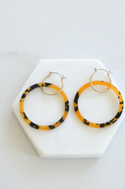 Brown - Acrylic Double Hoop Earrings Flat Lay