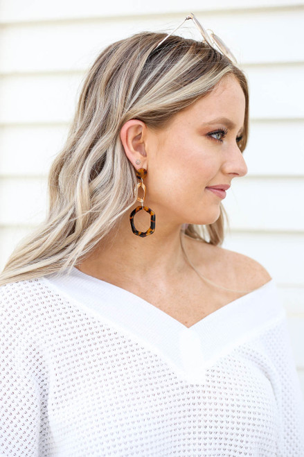 Black - Tortoise Statement Earrings on Model
