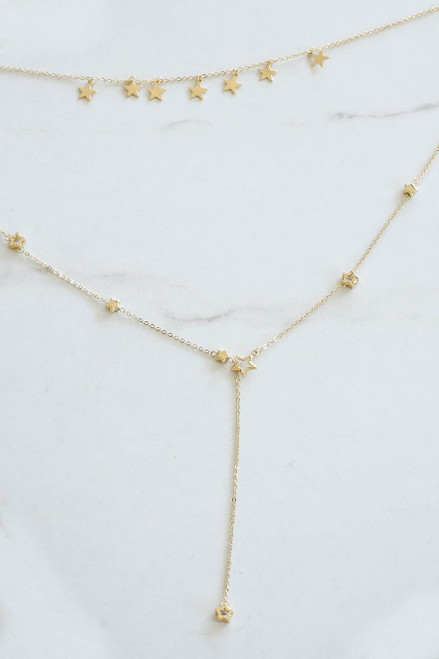 Gold - Layered Star Necklace Flat Lay