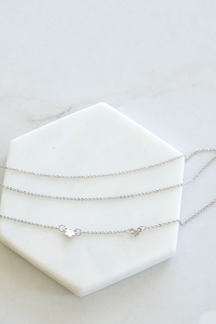 Silver - Star Charm Layered Necklace Flat Lay